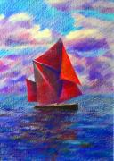 Sails Drawings - Red Sails by Anastasia Michaels