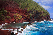 Splashy Photo Metal Prints - Red Sand Beach Metal Print by Inge Johnsson