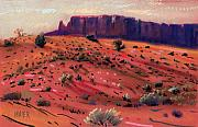 University Of Arizona Pastels - Red Sand by Donald Maier