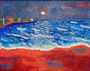 Undertow Painting Posters - Red Sands of Havana Poster by Angela Annas
