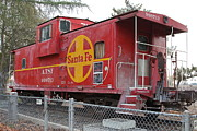 Old Cabooses Posters - Red Sante Fe Caboose Train . 7D10325 Poster by Wingsdomain Art and Photography