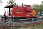 Old Caboose Prints - Red Sante Fe Caboose Train . 7D10329 Print by Wingsdomain Art and Photography