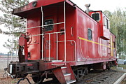 Old Caboose Prints - Red Sante Fe Caboose Train . 7D10330 Print by Wingsdomain Art and Photography
