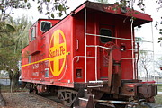 Old Caboose Prints - Red Sante Fe Caboose Train . 7D10332 Print by Wingsdomain Art and Photography
