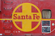 Old Caboose Prints - Red Sante Fe Caboose Train . 7D10333 Print by Wingsdomain Art and Photography