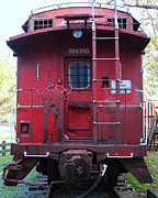 Old Cabooses Posters - Red Sante Fe Caboose Train . 7D10476 Poster by Wingsdomain Art and Photography