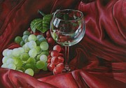 Wine Glasses Paintings - Red Satin and Grapes by Carla Kurt