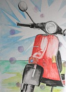 Scooter Paintings - Red Scoot by Craig Kennedy