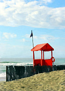 Beach Fence Digital Art Posters - Red Shack on the Beach Poster by Elaine Plesser
