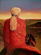 Shawl Painting Originals - Red Shawl in the Sunset by Charles Wallis