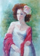 Lost In Thought Painting Posters - Red Shawl Poster by Marilyn Jacobson