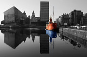 Red And Black Prints - Red ship blue reflection Print by Paul Madden