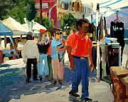 Market Paintings - Red Shirt by Brian Simons