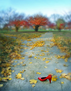 Red Shoe Framed Prints - Red Shoe And Autumn Leaves Framed Print by Jill Battaglia