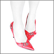Quirky Posters - Red Shoes Poster by Alice Gosling