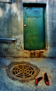 Drain Art - Red Shoes By Green Door by Jill Battaglia