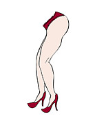 Nude Drawings Drawings Posters - Red shoes Poster by Frank Tschakert