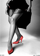 Black And White Nudes Posters - Red Shoes Poster by Jerry Taliaferro