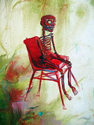 Dia De Los Muertos Framed Prints - Red Skeleton Chair Framed Print by Heather Calderon