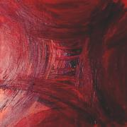 Red Skewed Squares Print by Melissa Moore