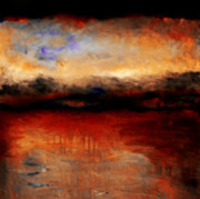 Dramatic Sky Sun Rays Paintings - Red Skies at Night by Michelle Calkins
