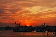 Shrimp Boat Photos - Red Sky At Night by Benanne Stiens