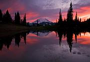 Mt Rainier Prints - Red Sky at Night Print by Mike  Dawson