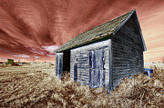 House Digital Art Originals - Red Sky Blue Doors by James Steele