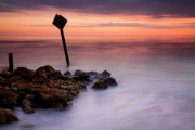 Jetty Photos - Red Sky Caution by Mike  Dawson
