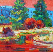 Sunriver Paintings - Red Sky by Margaret  Plumb