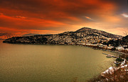 Science Fiction Pyrography - Red sky over Kastoria City by Soultana Koleska
