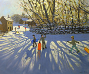 Village Paintings - Red sledge by Andrew Macara