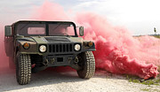 Grenades Prints - Red Smoke Billows Out Onto A Humvee Print by Stocktrek Images