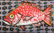 Outsider Art Paintings - Red Snapper by Robert Wolverton Jr