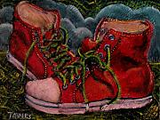 Laces Painting Posters - Red Sneakers Poster by Dennis Tawes