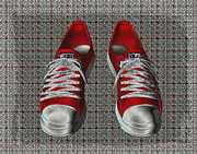 Apparel Prints - Red Sneakers Print by Smilin Eyes  Treasures