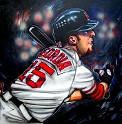 Boston Red Sox Painting Posters - Red Sox All Star Dustin Pedroia Poster by Dave Olsen