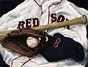 Glove Painting Framed Prints - Red Sox number nine Framed Print by Jack Skinner
