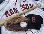 Baseball Painting Framed Prints - Red Sox Number six Framed Print by Jack Skinner