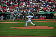Red Sox Framed Prints - Red Sox Retiree Tim Wakefield Framed Print by Mike Martin