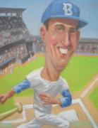 Korean War Paintings - Red Sox Slugger Ted Williams by Texas Tim Webb