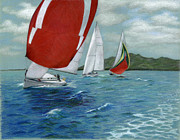 Transportation Drawings Originals - Red Spinnaker by Heather Mitchell