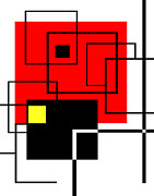 Mondrian Digital Art Posters - Red Square a la Mondrian Poster by Ginny Schmidt