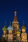 Onion Dome Prints - Red Square, Kremlin, Saint Basils Cathedral Print by Walter Bibikow