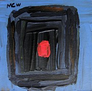 Primitive Raw Art Paintings - Red Square by Mary Carol Williams