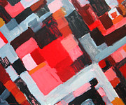Abstract Map Painting Prints - Red Square Residential District Print by Kazuya Akimoto
