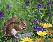 Floral Drawings Originals - Red Squirrel by Sharon Molinaro