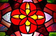 Usa Glass Art Posters - Red Stained Glass Poster by LeeAnn McLaneGoetz McLaneGoetzStudioLLCcom