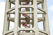Water Tower Photos - Red Stairway by Gerard Hermand