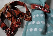 Signed Ceramics - Red Star Swirl Napkin Rings by Amanda  Sanford